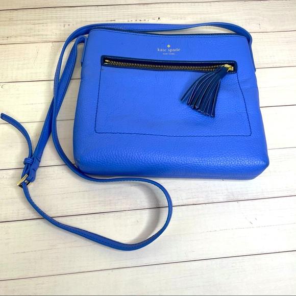 Blue leather Kate Spade crossbody purse